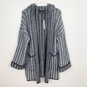 Zara | Oversized Striped Knit Hooded Cardigan New